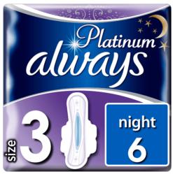Σερβιέτες Platinum Ultra Night Με Φτερά Always (Μέγεθος 3)(6 τεμ)